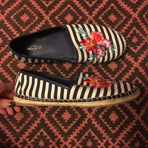Striped Embroidered Espadrilles